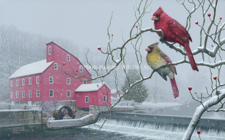 Cardinal and Mill painting by Mark Mueller